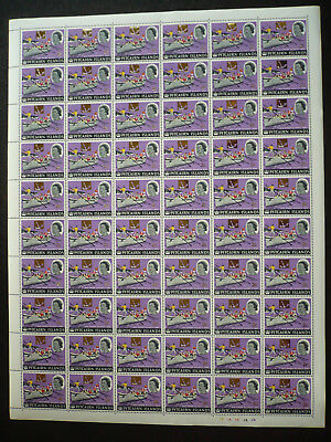 Stamps - Pitcairn Islands - Full Sheet - Surcharged in Gold - Scott# 74
