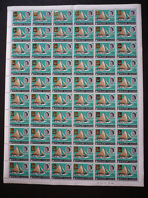 Stamps - Pitcairn Islands - Full Sheet - Surcharged in Gold - Scott# 72