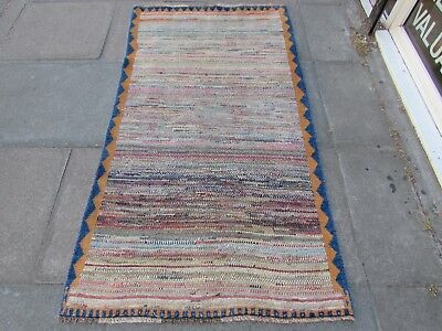 Old Traditional Hand Made Persian Gabbeh Oriental Wool Blue Brown Rug 183x97cm