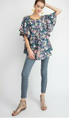 8b8230da3f EASEL 3 4 BELL sleeve EMBROIDERED lace boho peasant Tunic top shirt ...