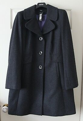 BNWT M&S wool blend ladies' coat. charcoal, 16, Lined, med weight. Marks Spencer