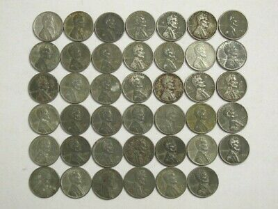 1943-P Lincoln Steel Wheat Cent Penny (41 Coins)
