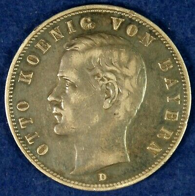 1900 Germany Bayern 10 Marks Silver Coin