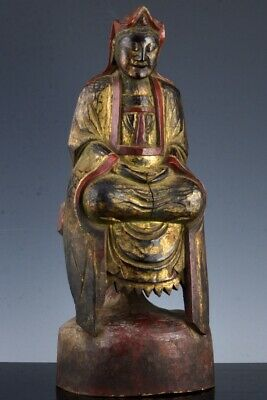 Large Antique Chinese Or Japanese Lacquered Gold Gilt Wood Buddha Figure