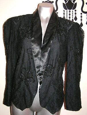 Vintage 80's Puff Sleeve Lace Bead Black Evening Jacket Size 10 - 12