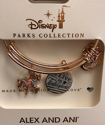 Disney Parks Alex And Ani I Live In Fantasyland Carousel Gold 2 Bracelet Set