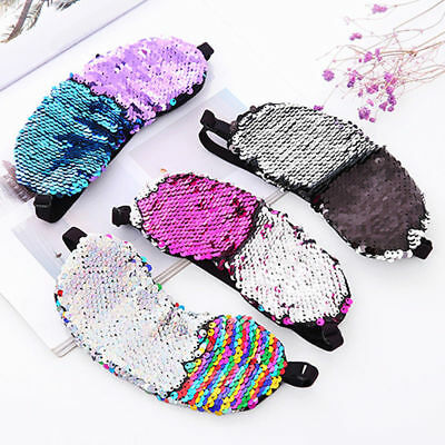 Reversible Sequin Eye Mask Color Changing Travel Sleep Eye Shade Relax Aid Acces