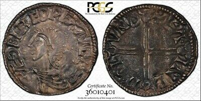 (978-1016) England Anglo-Saxon Silver Penny King Aethelred II PCGS AU58 Lot#G004