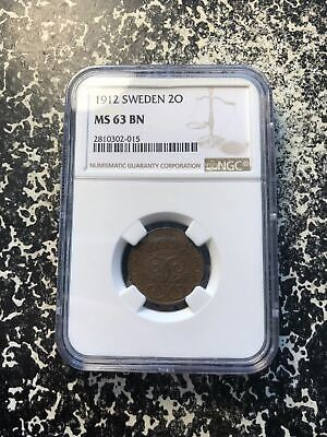 1912 Sweden 2 Ore NGC MS63 Brown Lot#G085 Low Mintage! Key Date