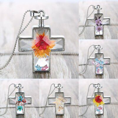 Natural Dried Rose Flower Cross Glass Pendant Necklace Chain Women Jewelry Gift