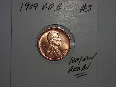 wheat penny 1909 VDB LINCOLN CENT NICE RED BU 1909-P V.D.B LOT #3 RED UNC LUSTER