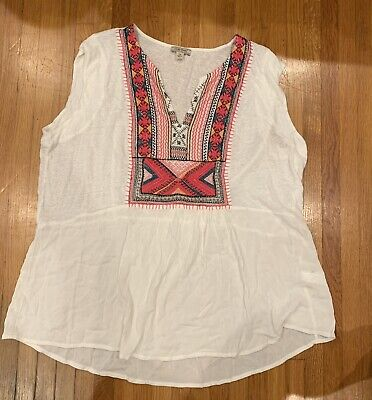 3f78804a0cb1d Lucky Brand Womens 2XL White Blouse W Detailed Embroidery Plus Size  Sleeveless