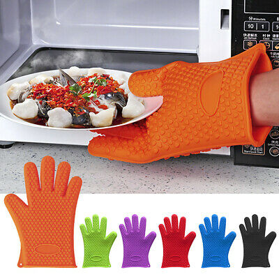 1 Pair of Silicone Oven Gloves Kitchen Baking BBQ Cooking Mitts Heat Resistant