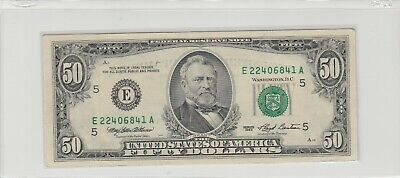 1993 (E) $50 Fifty Dollar Bill Federal Reserve Note Richmond Old Currency Crisp