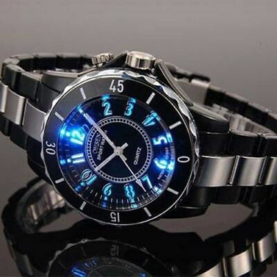 OHSEN Mens Sport Watches LED Backlight Stainless Steel Quartz Wristwatch FN0736