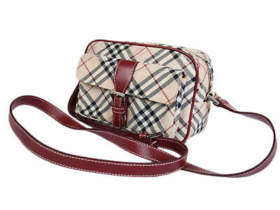Auth BURBERRY BLUE LABEL Nylon Canvas Leather Red Crossbody Shoulder Bag  BS0409 0c80fb36c600a