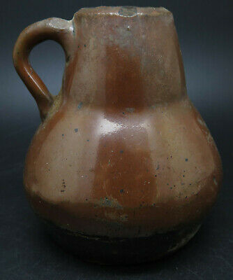 Rare Ancient Greek Pottery Jug With Black Glaze