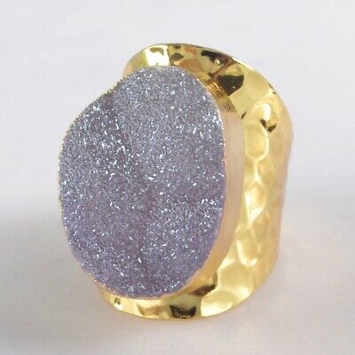 Size 7 Natural Agate Titanium Druzy Ring Gold Plated T075590