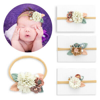Baby Flower Nylon Headband with Pearl Vintage Floral Hair Bows Elastic Hairband