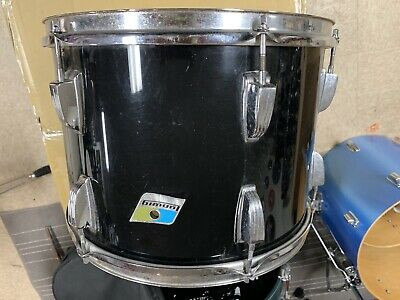 "Ludwig Tom 14"" Vistalite Drum For Restore Or Parts Vintage Drum Blue Olive Badge"