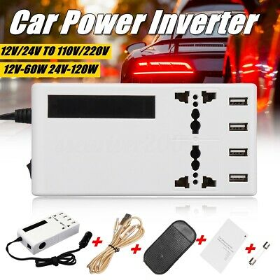 Car Pure Sine Wave Power Inverter DC 12V To AC 220V LCD USB Charger Converter