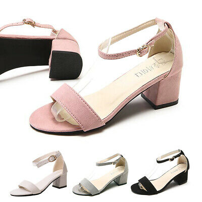 a43069ad25697b Womens Low Mid Heel Block Peeptoe Ladies Ankle Strap Party Strappy Sandals  Shoes