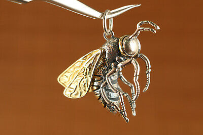 rare chinese 100% 925 silver casting bee statue pendant netsuke collectable