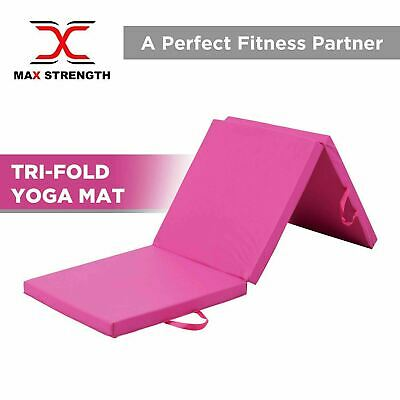 Pink Yoga Gymnastics Tri Folding Mat Gym Exercise Fitness Pilate Foam 6ft x 2ft