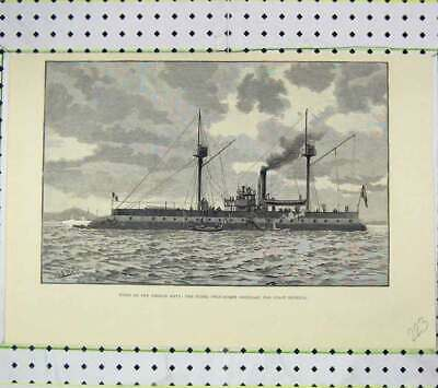 Original Old Antique Print French Navy Ships Fusee Twin-Screw Ironclad Defence