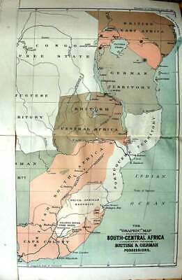 Original Old Antique Print 1890 Colour Graphic Map South-Central Africa Z 19th