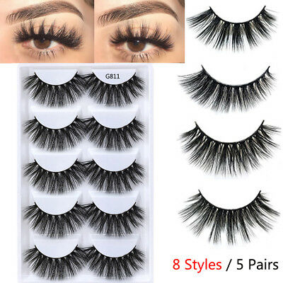 5 Pairs Natural Long Crisscross Wispies Glam Lashes 3D Mink Hair False Eyelashes