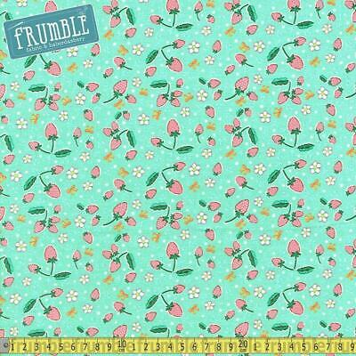 Bunnies Puddles Umbrellas Flowers Green Fabric FQ Half Metre or More 100/% Cotton