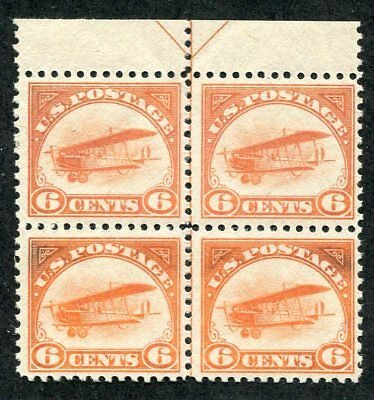 1918 US Scott C1 Six Cent Airmail Center Line Block Stamps Mint Never Hinged
