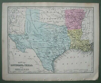1873 Mitchell Map:Texas,AR,LA&showing area Seminole removal to Indian Territory