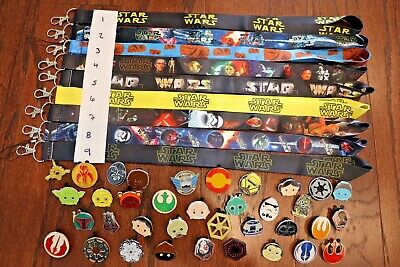 Disney World Pin Trading Lot Lanyard Starter Set Star Wars Set with 10 Pins
