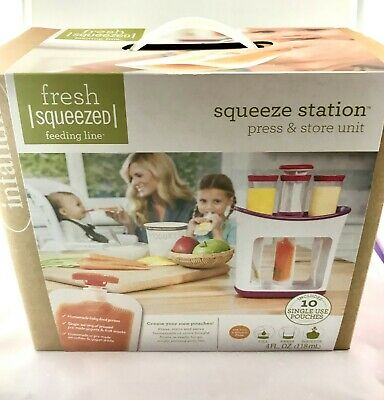 Infantino Freshed Squeezed feeding line  Squeeze station and 50 pack pouches!