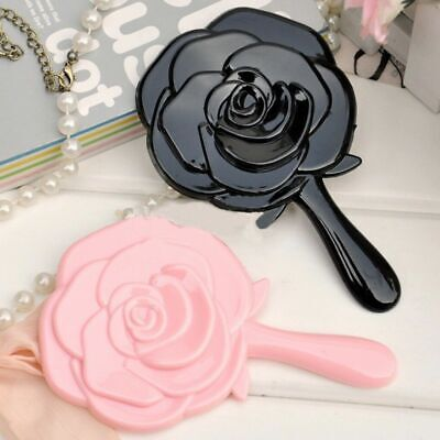 Women Ladies Vintage Classical Rose Style Portable Hand Held Handle Mirror