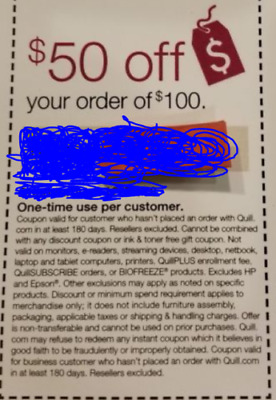 BETTER THAN OFFICE DEPOT COUPON - $50 OFF $100 ONLINE ORDER at QUILL.COM