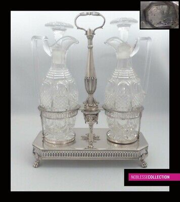 ANTIQUE 1810s FRENCH STERLING SILVER OIL & VINEGAR CRUET SET Paris 1809-1819