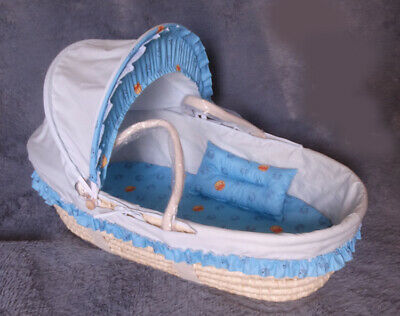 A93 Baby Moses Basket Bassinet Waffle Bedding WIth Net 75*35CM