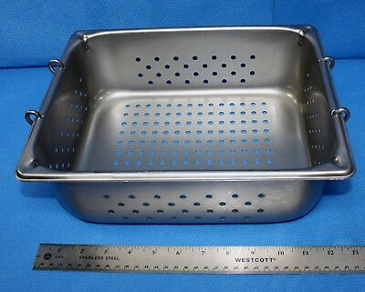 Perforated Instrument Sterilization Container Tray Stainless 12-5/8 x 10-3/8