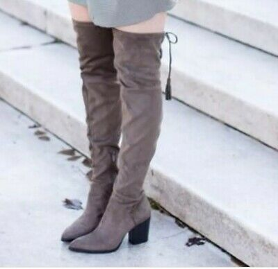 70f504313ab  230 Marc Fisher Alinda Over The Knee Boot Gray Stretch Fabric Women 7 M