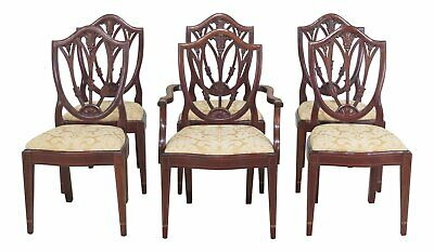 L46953EC: Set of 6 Bench Made Shield Back Mahogany Dining Chairs