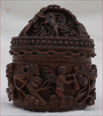 Antique French Hand Carved Coquilla Nut Box Cherubs Acanthus Galant Scene