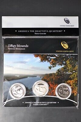 2017 PDS Effigy Mounds-America the Beautiful Quarters-3 Coin Set-Mint Sealed