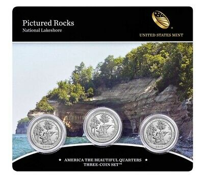 2018 PDS Pictured Rocks-America the Beautiful Quarters-3 Coin Set-Mint Sealed