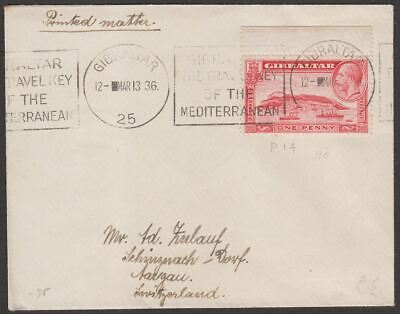 Gibraltar 1936 KGV 1d Used on Cover to Switzerland with Schinznach backstamp