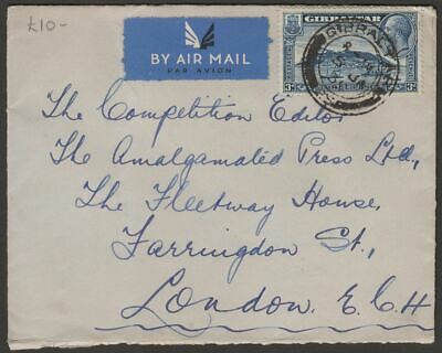 Gibraltar 1935 KGV 3d Used on Airmail Cover to London England