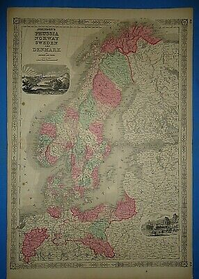 Vintage 1864 NORWAY SWEDEN DENMARK Map ~ Old Antique Original Johnson's Atlas