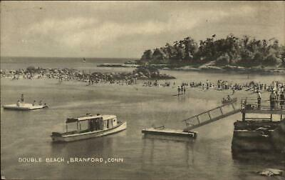 Branford CT Double Beach Boat Dock Swimmers c1940s Postcard